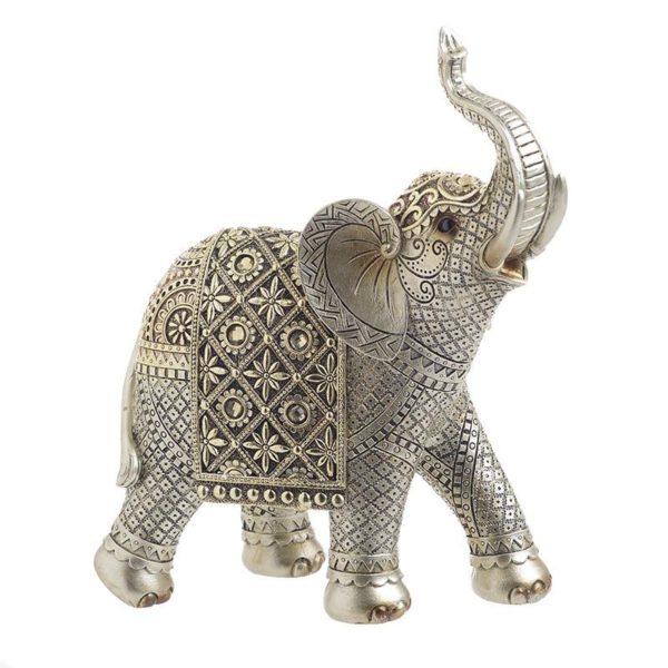 Inart Διακοσμητικός Ελέφαντας Χρυσό,Ασήμι    Πολυρεσίνη 22x10x25 cm