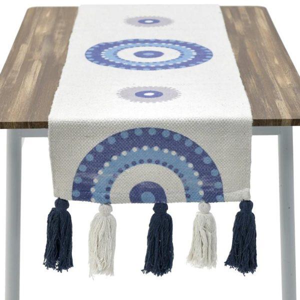 Inart Καρές 90X90 Μπλε,Λευκό-Ελεφαντόδοντο   Βαμβάκι