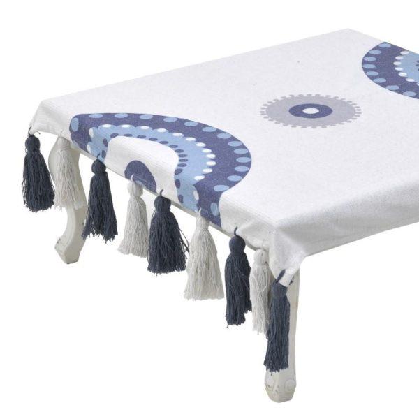Inart Καρές 90Χ90 Λευκό-Ελεφαντόδοντο,Μπλε   Βαμβάκι
