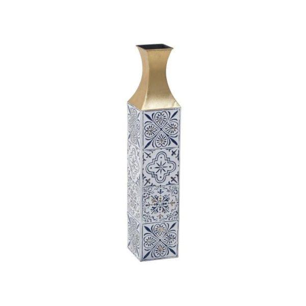 Inart Βάζο Λευκό-Ελεφαντόδοντο,Μπλε,Χρυσό Σίδερο 14x14x74 cm
