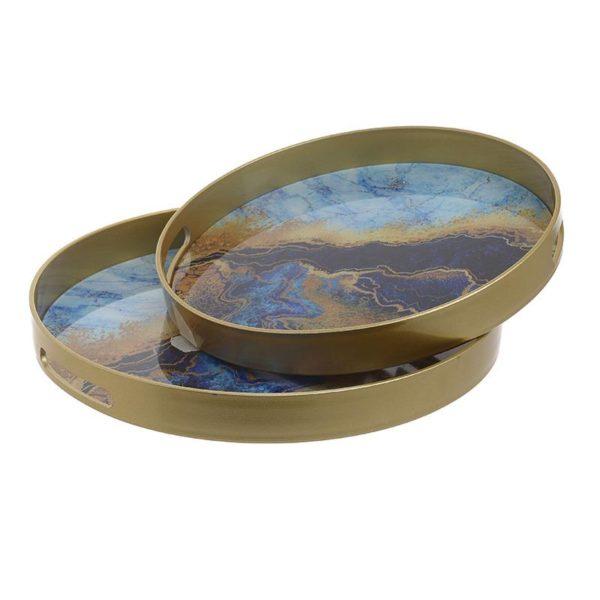 Inart Δίσκος Σετ Των 2 Χρυσό,Μαύρο    Πλαστικό