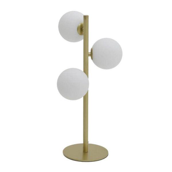 Inart Επιτραπέζιο Φωτιστικό Λευκό-Ελεφαντόδοντο,Χρυσό Σίδερο 23x23x45 cm
