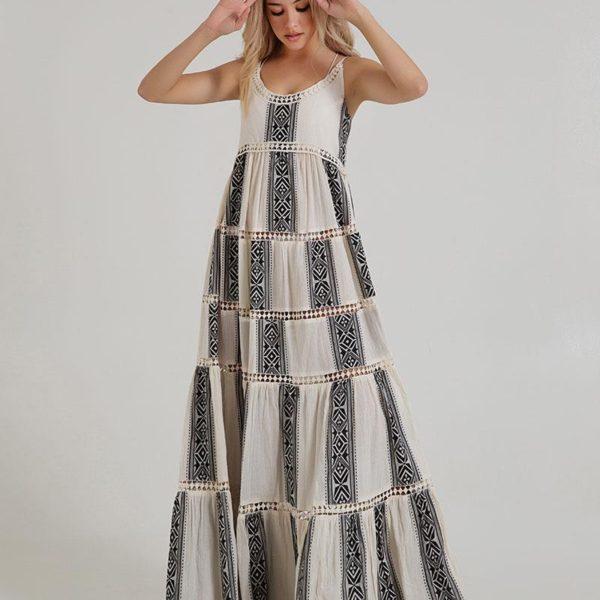 Inart Φόρεμα Μακρύ Μαύρο,Φυσικό μπεζ   Βαμβάκι