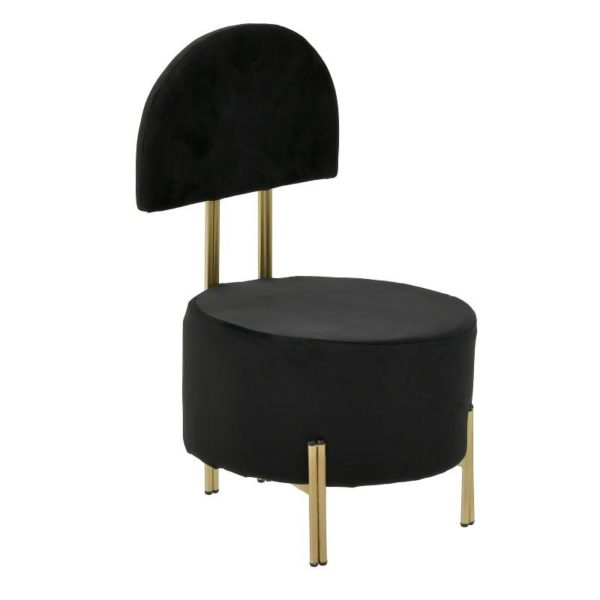 Inart Καρέκλα Χρυσό,Μαύρο Σίδερο  Συνθετικό / ΠΟΛΥΕΣΤΕΡ 36x36x60 cm