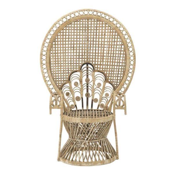 Inart Πολυθρόνα Peacock Φυσικό μπεζ 96x96x145 cm