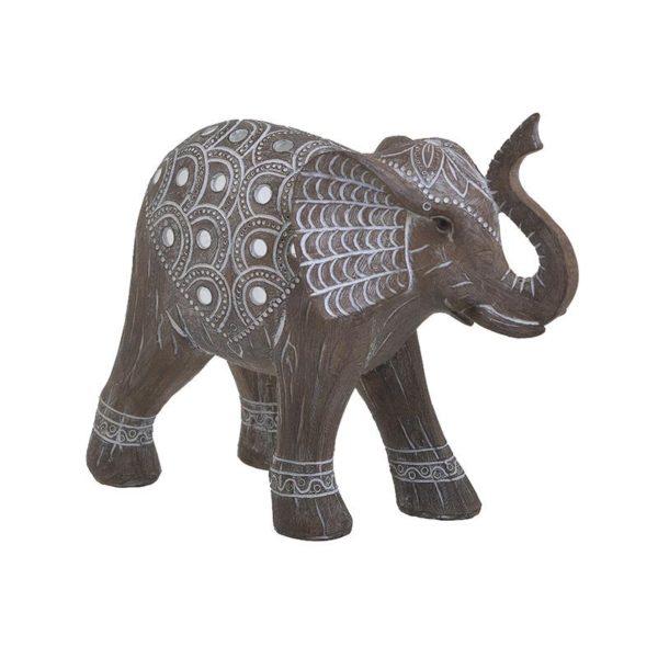 Inart Διακοσμητικός Ελέφαντας Λευκό-Ελεφαντόδοντο,Φυσικό μπεζ    Πολυρεσίνη 25x9x19 cm