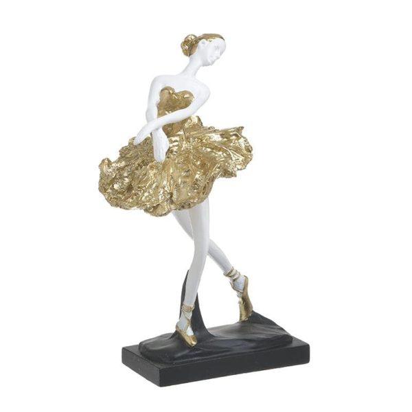 Inart Αγαλματίδιο Λευκό-Ελεφαντόδοντο,Χρυσό    Πολυρεσίνη 15x12x26 cm