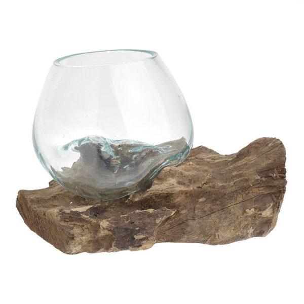 Inart Γυάλινο/Ξύλινο Κηροπήγιο Διαφανές,Καφέ    Γυαλί 12x11x11 cm