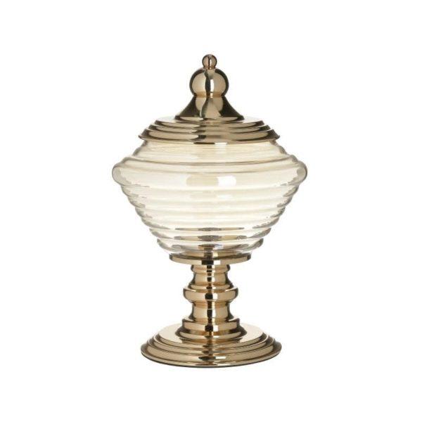 Inart Δοχείο Με Καπάκι Χρυσό,Γκρί Σίδερο   Γυαλί 19x19x32 cm