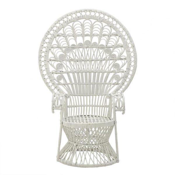 Inart Πολυθρόνα Peacock Λευκό-Ελεφαντόδοντο 95x95x145 cm