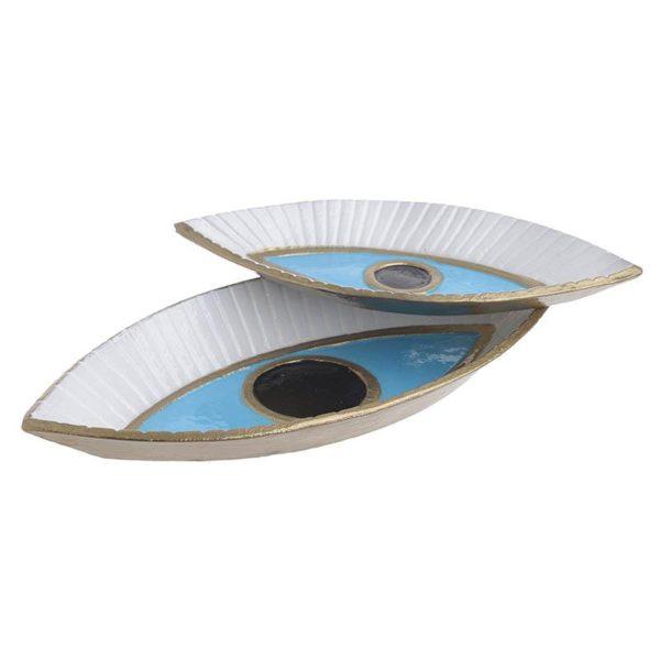 Inart Διακοσμητική Πιατέλα Σετ Των 2 Μπλε,Χρυσό Αλουμίνιο 38x18x5 cm