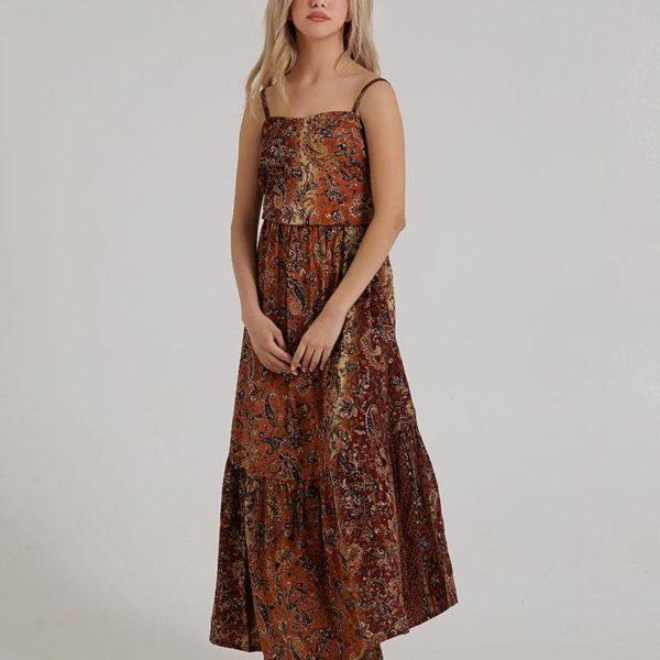 Inart Φόρεμα με Τιράντες Καφέ,Μαύρο