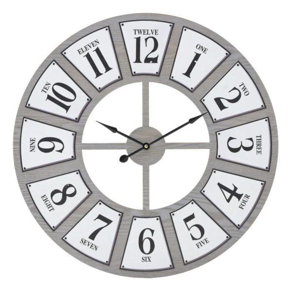 Inart Ρολόι Τοίχου Φυσικό μπεζ,Λευκό-Ελεφαντόδοντο Σίδερο MDF 60x5x60 cm