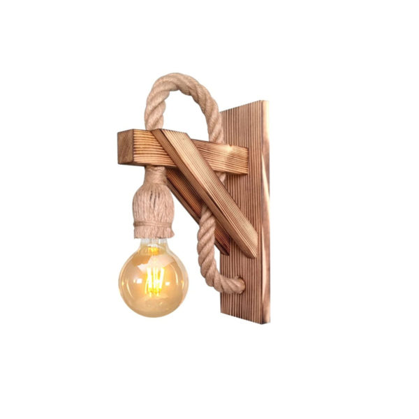 Φωτιστικό Τοίχου Ξύλινο Φυσικό E27 6x17x20cm