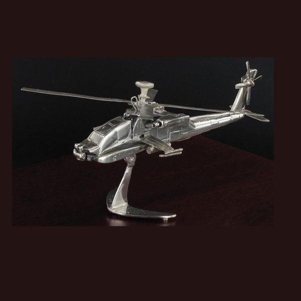 Ασημένια μινιατούρα Apache Ελικόπτερο 19x15x10cm
