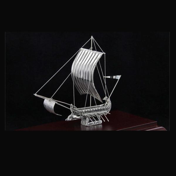 Ασημένια Μινιατούρα Τριήρης σε βάση 23x12x17cm