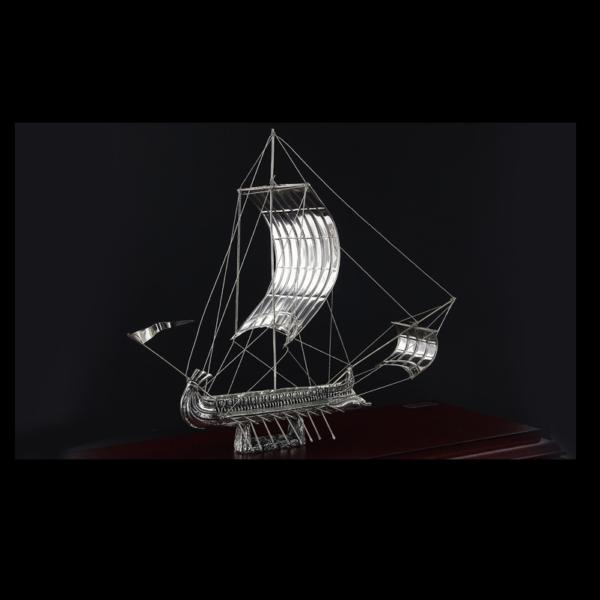 Ασημένια Μινιατούρα Τριήρης σε βάση 33x14x24 cm