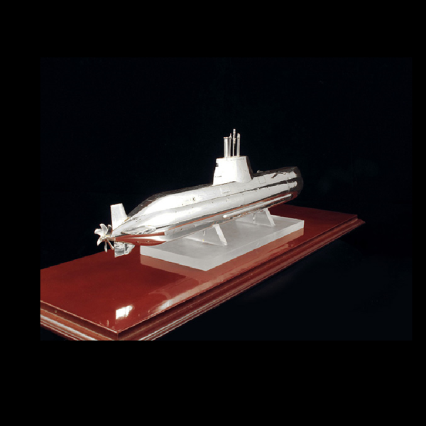 Ασημένια Μινιατούρα Υποβρύχιο σε βάση 60x20x29 cm