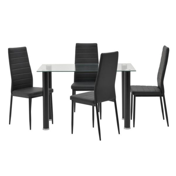 Inart Τραπεζαρία Με 4 Καρέκλες Μαύρο Σίδερο   Γυαλί