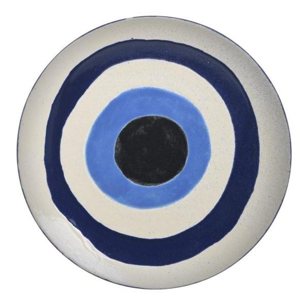 Inart Διακοσμητική Πιατέλα Λευκό-Ελεφαντόδοντο,Μπλε    Κεραμικό 32x32x3 cm