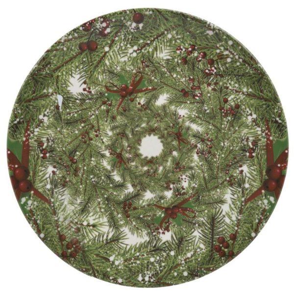 Inart Πιάτο Φαγητού Σετ Των 6 Πράσινο    Κεραμικό 26x26x2 cm