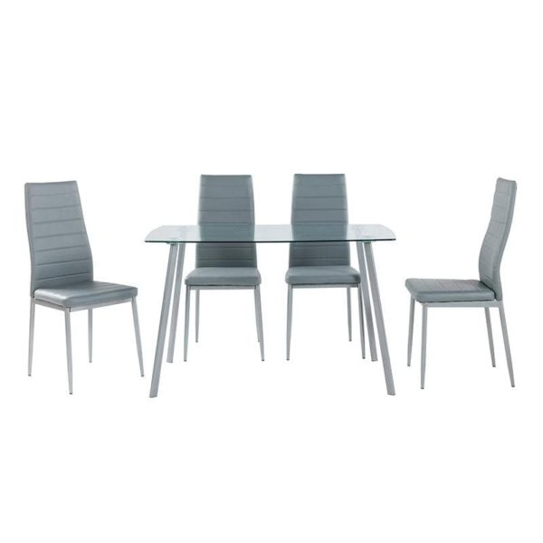 Inart Τραπεζαρία Με 4 Καρέκλες Γκρί Σίδερο   Γυαλί