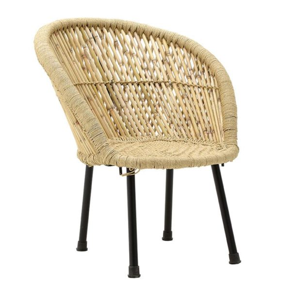 Inart Καρέκλα Μπαμπού Φυσικό μπεζ Σίδερο Μπαμπού 63x46x73 cm