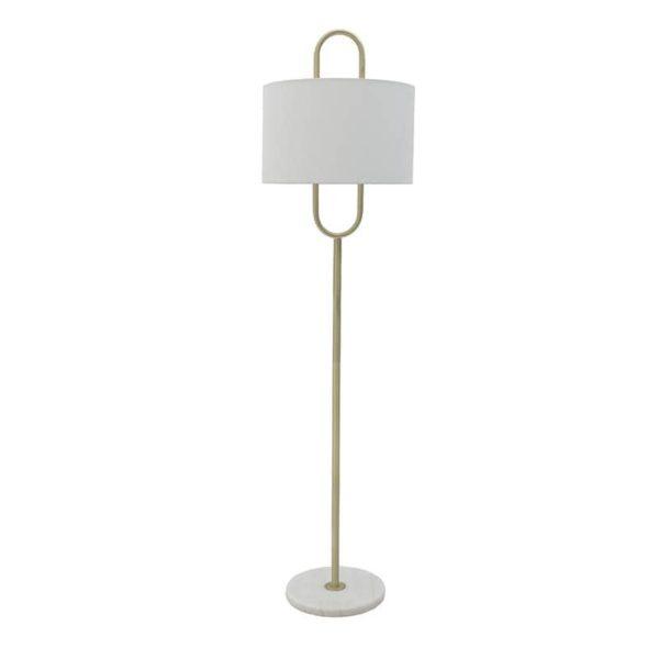 Inart Φωτιστικό Δαπέδου Λευκό-Ελεφαντόδοντο,Χρυσό Σίδερο  Συνθετικό / ΠΟΛΥΕΣΤΕΡ 40x40x158 cm