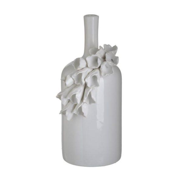 Inart Βάζο Λευκό-Ελεφαντόδοντο    Κεραμικό 14x13x27 cm