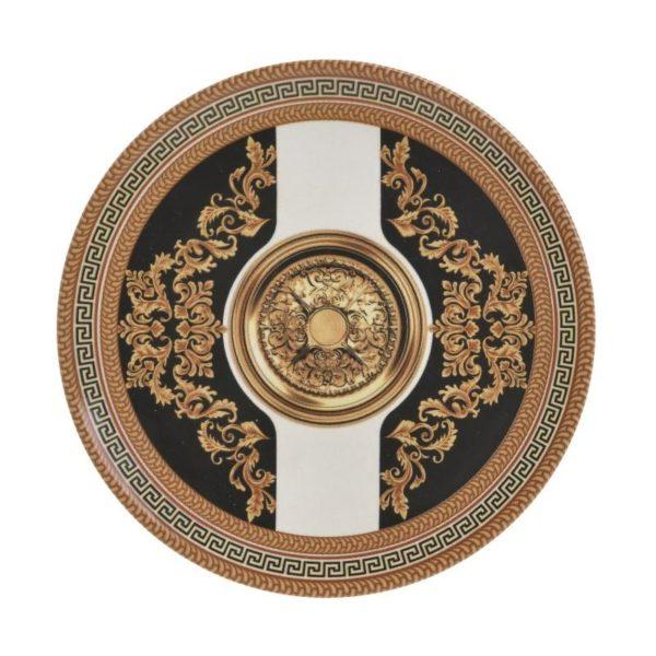 Inart Πιάτο Γλυκού Σετ Των 6 Χρυσό,Μαύρο    Κεραμικό 20x20x2 cm