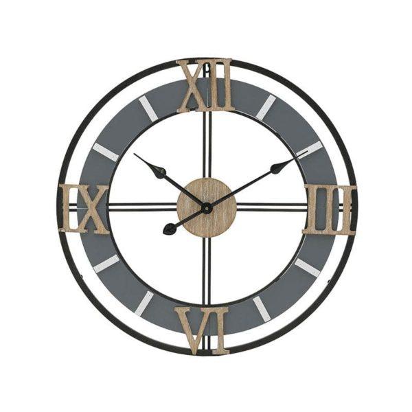 Inart Ρολόι Τοίχου Μαύρο,Γκρί Σίδερο MDF 60x5x60 cm