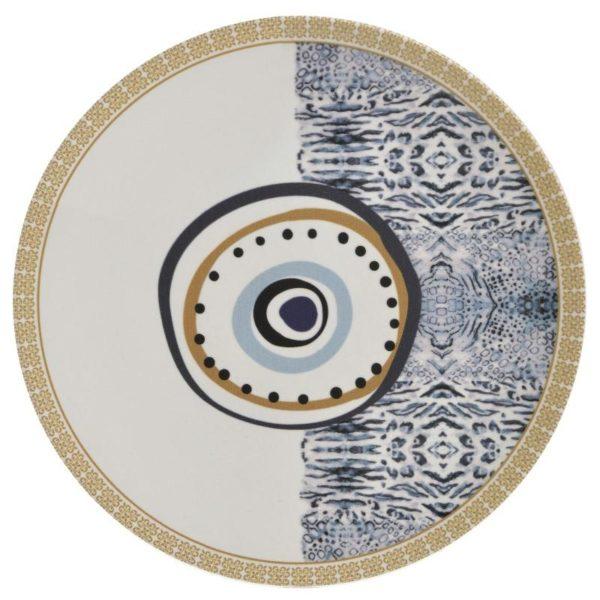 Inart Πιάτο Φαγητού Σετ Των 6 Λευκό-Ελεφαντόδοντο,Μπλε    Κεραμικό 26x26x2 cm