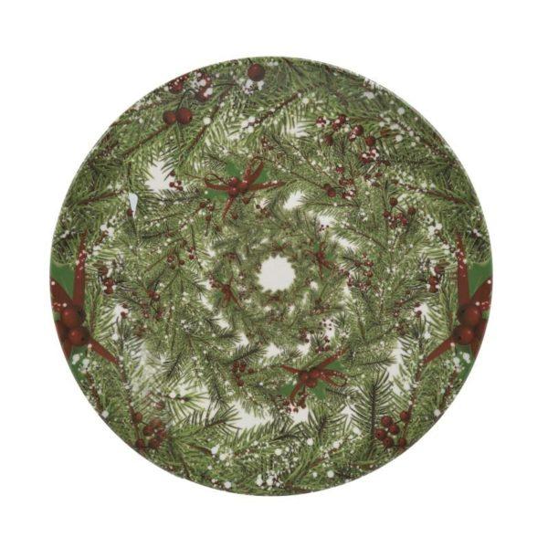 Inart Πιάτο Γλυκού Σετ Των 6 Πράσινο    Κεραμικό 20x20x2 cm