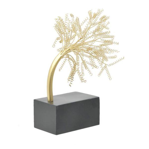 Inart Επιτραπέζιο Διακοσμητικό Μαύρο,Χρυσό Σίδερο MDF 34x23x42 cm