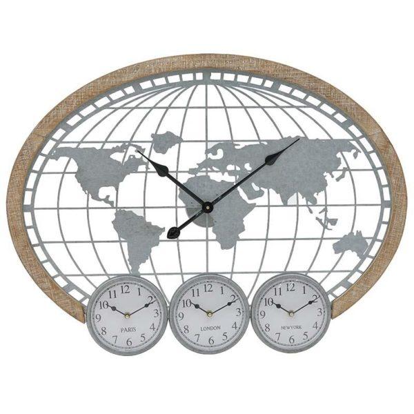 Inart Ρολόι Τοίχου Φυσικό μπεζ,Ασήμι Σίδερο MDF 80x5x60 cm