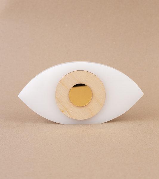 Χειροποίητο Μάτι Plexiglass Luckycharm Λευκό 19x9cm