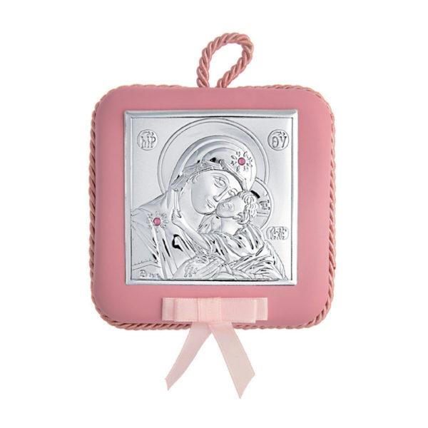 Διακοσμητική Τετράγωνη Εικόνα Παναγία Prince Silvero Ροζ με στρας 10,5x10,5 cm