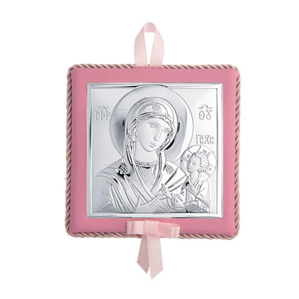 Διακοσμητική Τετράγωνη Εικόνα Παναγία Prince Silvero Ροζ 14×14 cm