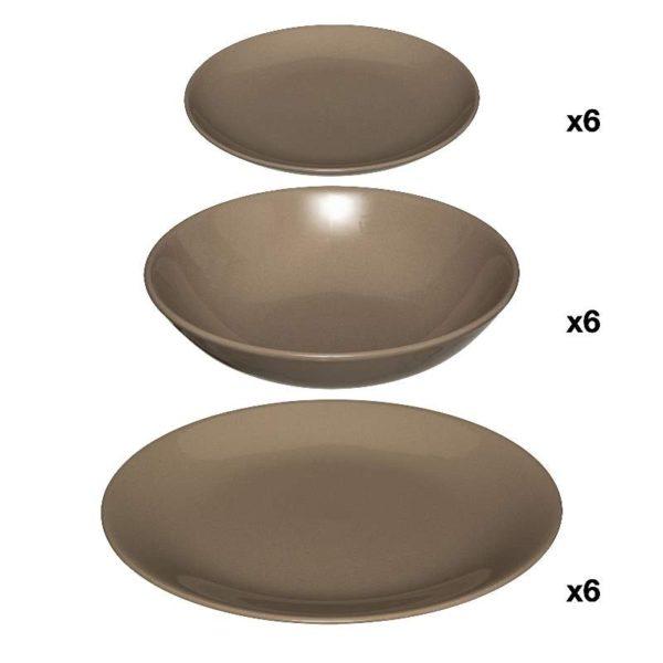 Πιάτα Colorama Faience Καφέ Σετ 18 - 26 cm, 21 cm, 20 cm