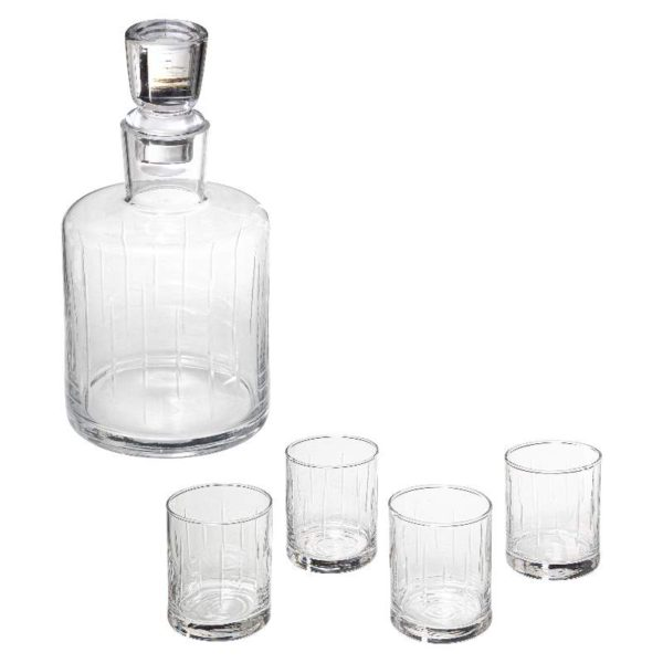 Σετ Καράφα και 4 Ποτήρια για Ουίσκι Petit Salon Γυάλινα 11x11x22cm.