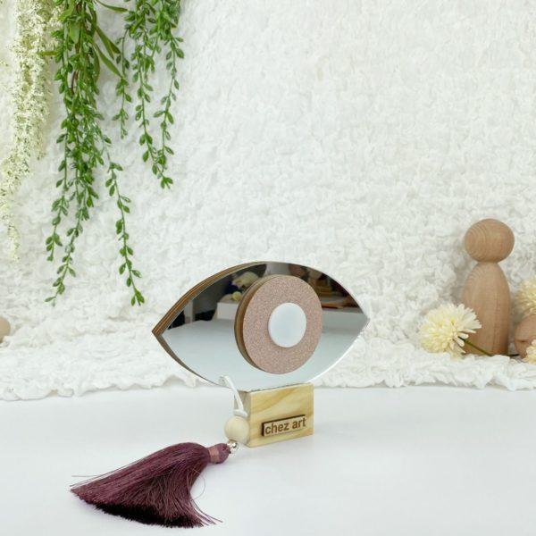 Χειροποίητο Μάτι Ξύλινο Plexiglass Luckycharm Ασημί Ροζ 14cm