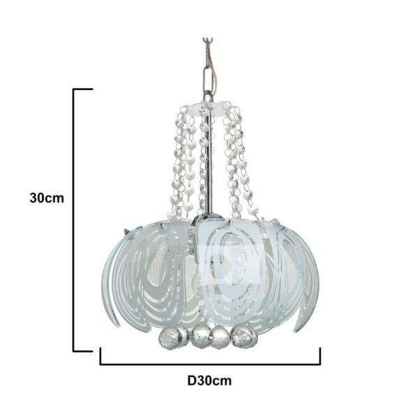 Inart Φωτιστικό Οροφής Ασήμι,Διαφανές    Γυαλί 30x30x30 cm