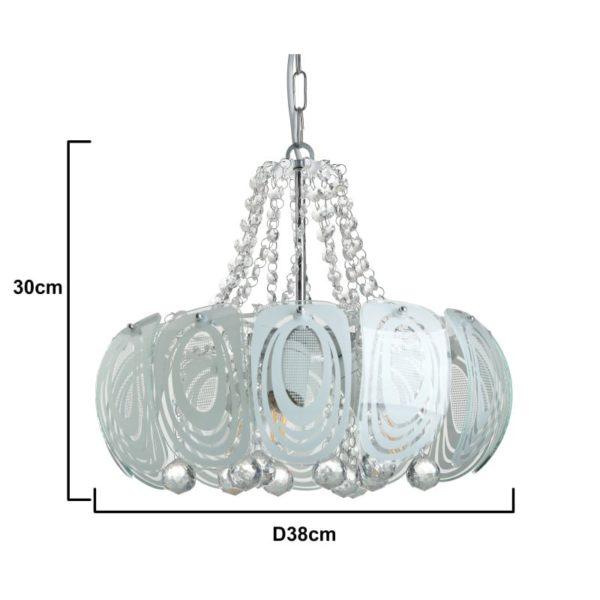 Inart Φωτιστικό Οροφής Ασήμι,Διαφανές    Γυαλί 38x38x30 cm