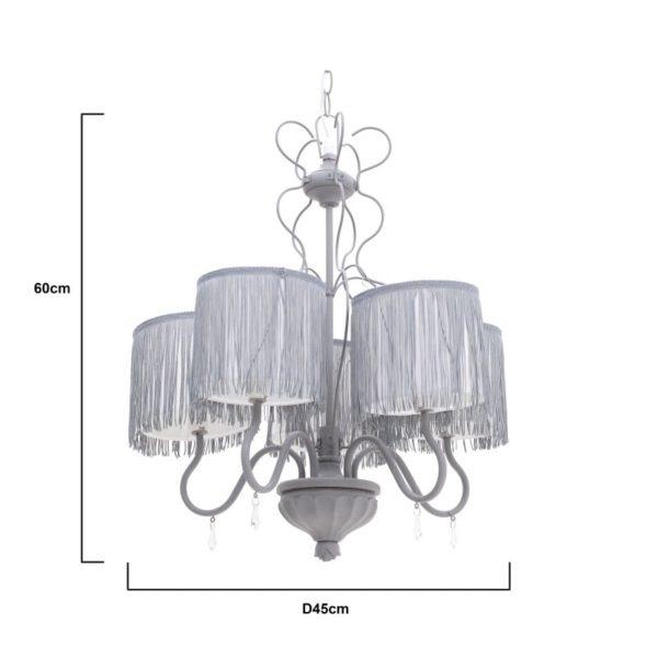Inart Φωτιστικό Οροφής Λευκό-Ελεφαντόδοντο,Γκρί Σίδερο  Συνθετικό / ΠΟΛΥΕΣΤΕΡ 45x45x60 cm