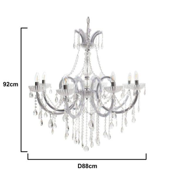 Inart Φωτιστικό Οροφής Διαφανές    Γυαλί 88x88x92 cm