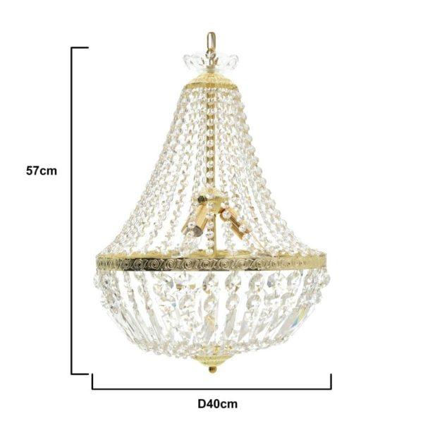 Inart Πολυέλαιος Διαφανές,Χρυσό Σίδερο   Γυαλί 40x40x57 cm