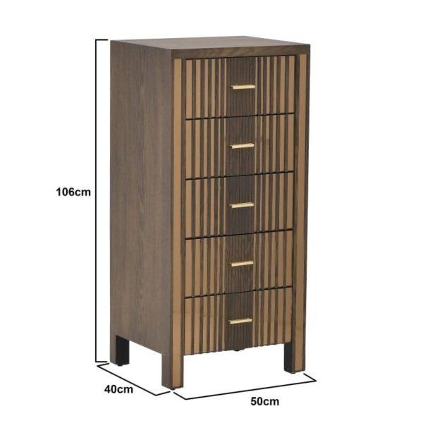 Ξύλινη Συρταριέρα Καφέ με Καθρέπτη 50x40x106 cm