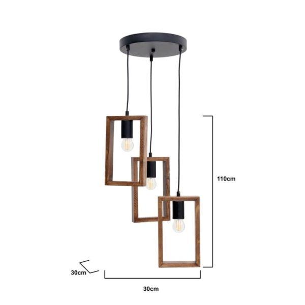 Inart Φωτιστικό Οροφής Φυσικό μπεζ,Μαύρο 30x30x70 cm