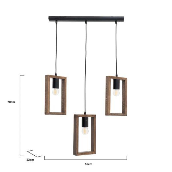 Inart Φωτιστικό Οροφής Μαύρο,Φυσικό μπεζ 55x22x70 cm