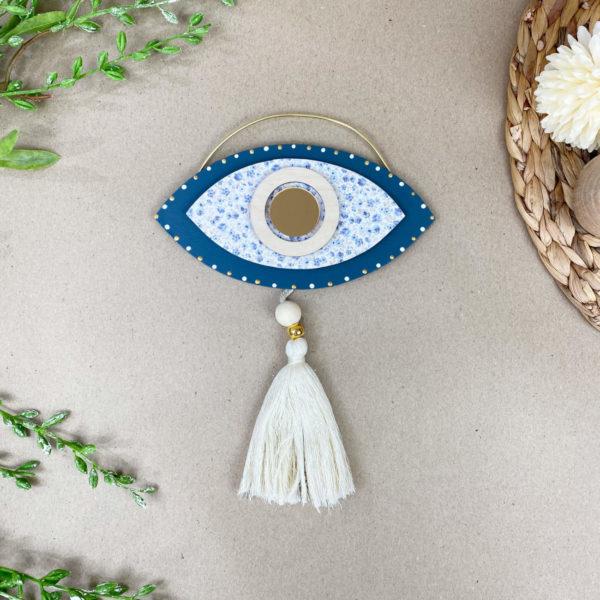 Ξύλινο Κρεμαστό Μάτι Blue Navy 15x10cm